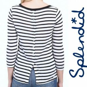 Splendid Navy White Striped Long Sleeved Shirt
